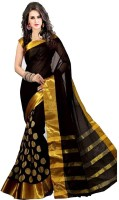 ASHVMEGH Woven Fashion Cotton Silk Saree(Black)