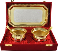 Raj Laxmi RajLaxmi Silver And Gold Plated Container Tray Set Bowl Spoon Tray Serving Set(Pack of 5)