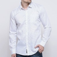 Delvinbroad Men Polka Print Casual White Shirt