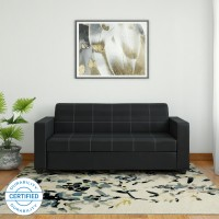 Bharat Lifestyle Cosmo Leatherette 3 Seater  Sofa(Finish Color - Black)