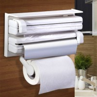 holiday 3 in 1 Kitchen Triple Paper Dispenser & Holder Paper/ Foil/ Cling Wrap Triple Paper Dispenser & Holder For Cling Film Wrap Aluminium Foil Paper Dispenser