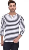 BigIdea Striped Men's Henley White, Blue T-Shirt