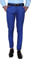 One Click Slim Fit Men's Blue Trousers