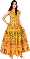 Mudrika Women's Fit and Flare Yellow Dress