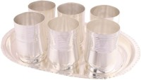 Shreeng Shreeng Silver Plated Premium Damru Glass Set With oval Tray 7 Pcs. Glass Tray Serving Set(Pack of 7)