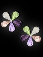 ZIVOM® Glossy Flower Aaa Crystal Multicolor 18 Gold Stud Earring Girls Women
