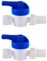 "BalRama 2pc 1/4"" Plastic Inlet Ball Valve for 1/4 inch Pipe Tubing RO Water Purifier Inlet Ball Valve Coupling Set Diverter Gate Valve On/Off Tee Cock Twin Elbow Faucet for Connection of RO UV UF Mineral Water Purifiers Filters with Raw Water Tap Diverter Faucet(Wall Mount Installation Type)"