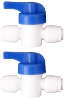 "BalRama 2pc 1/4"" x 1/4"" Plastic Manual Flusher Valve Quick Connect Flushing Valve for 1/4 inch Pipe Tubing RO Water Purifier Inlet Ball Valve Coupling Set Diverter Gate Valve On/Off Tee Cock Twin Elbow Faucet for Connection of RO UV UF Mineral Water Purifiers Filters with Raw Water Tap Flush Valve F"