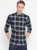 Delvinbroad Men Checkered Casual Red, Blue Shirt