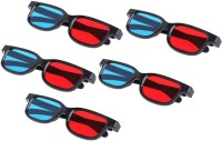 Punnkk Red Blue Cyan Plastic 3d Reusable Sporty General Glasses For Tv & Projector Movies Pack of 5 Video Glasses(Black)