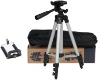 MobFest Tripod-3110 Portable Adjustable Aluminum Lightweight Camera Stand With Three-Dimensional Head & Quick Release Plate For Video Cameras and mobile Tripod(Black, Silver, Supports Up to 1500)