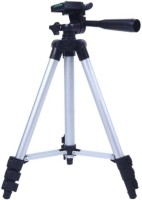 MobFest 3110 Portable & Foldable Camera & Mobile Tripod with Mobile Clip Holder Bracket Fully Flexible Mount Cum Tripod Stand with Three-Dimensional Head & Quick Release Plate Tripod Tripod(Black, Silver, Supports Up to 1000)