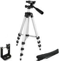 MobFest 3110 Portable & Foldable Camera & Mobile Tripod with Mobile Clip Holder Bracket Fully Flexible Mount Cum Tripod Stand with Three-Dimensional Head & Quick Release Plate Tripod(Black, Silver, Supports Up to 2000)