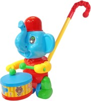 Miss & Chief Walk n Push n Pull Along Elephant with Drum Tapping Toy for Kids(Blue, Pack of: 1)
