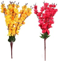 KOONIV Yellow, Red Orchids Artificial Flower(22 inch, Pack of 2)