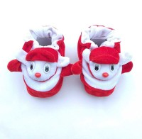 LMN Child Care Booties(Toe to Heel Length - 6 cm, Red, White)