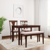 Flipkart Perfect Homes Fraser Solid Wood 4 Seater Dining Set(Finish Color - Walnut)