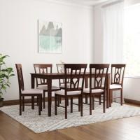 Flipkart Perfect Homes Langkawi Solid Wood 6 Seater Dining Set(Finish Color - Walnut)