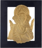 Webelkart Exclusive Golden Lord Ganesha Wall Hanging For Festive Decor/Interior Decorative Showpiece  -  37 cm(Wood, Black, Gold)