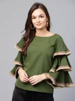 Sassafras Casual Ruffled Sleeve Solid Women Green Top