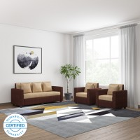 Bharat Lifestyle Tulip311 Fabric 3 + 1 + 1 Brown Sofa Set