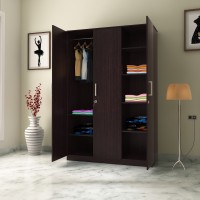 Flipkart Perfect Homes Julian 3 Door Wardrobe(Finish Color - Wenge)