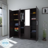 Flipkart Perfect Homes Julian Engineered Wood 4 Door Wardrobe(Finish Color - Wenge, Mirror Included)