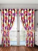 Bombay Dyeing 214 cm (7 ft) Polyester Door Curtain (Pack Of 2)(Printed, Maroon)