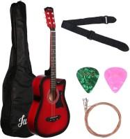 Juarez JRZ38C/RDS Acoustic Guitar Red Sunburst  38 Inch Cutaway with Pick Guard Linden Wood Acoustic Guitar(Red Sunburst)