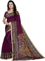 Vimalnath Synthetics Printed Kalamkari Cotton Blend Saree(Purple)