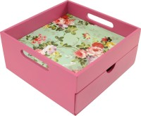 Enigmatic Woodworks Solid Wood Box(Finish and Fabric Color - Pink, Pre-assembled)