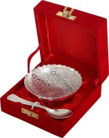 Delhi Gift House Silver Plated Brass Bowl With Tray Set Of 2 Pieces Brass Decorative Platter(Silver, Pack of 2)