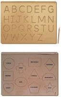 The Kiddy Depot Tracing Boards - Alphabet Uppercase -Shapes - Wooden Board With Dummy Pencils (Set of 2 Boards)(Brown)