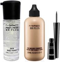 MAC BB PLUS Imported Combo 1 Mac Face Primer ,1 Mac Foundation , 1 Mac Liquid EyeLiner Blackest Waterproof For All Skin Tone  Foundation(NATURAL)