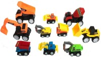 Miss & Chief Set of 10 Mini Engineering Vehicle Construction Pull Back Truck Toys for Kids(Multicolor)