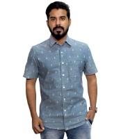 Weaver Men Printed Casual Light Blue Shirt