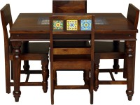 Induscraft Mozaic Solid Wood 4 Seater Dining Set(Finish Color - Brown)