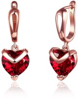 Yellow Chimes Red Heart Austrian Crystal 18K Rose Gold Plated Metal Clip-on Earring