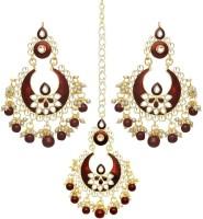 Trushi Alloy Jewel Set(Maroon, Gold)