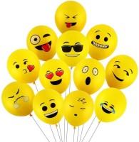 Smartcraft Printed Emoji Balloons Latex Yellow Emoji Smiley Balloons (Pack Of 25) Balloon(Yellow, Pack of 25)