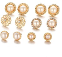 Shining Diva Combo of 6 Stylish Fancy Party Wear Pearl Stud Earrings Pearl Brass Stud Earring