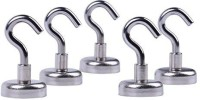 Lifekrafts Magnetic Hooks-Multi Function Indoor/Outdoor Magnets Hook,Storage and Organization Home Kitchen Accessories Pack Of 5 - Pronged Hook(Steel Pack of 5)