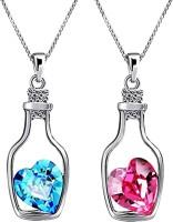 Oviya Valantine Combo of Bottle Heart Crystal Solitaire Pendant Rhodium Crystal Brass, Alloy Pendant