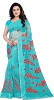 Monrav Embroidered Fashion Net Saree(Light Blue)