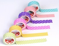 R H lifestyle Set of 6 Colorful Adhesive Paper Tapes for Art, Craft and Other Decorative Purposes.Cute Pastel Paper Tape- Polka dot, Stripes, Hearts, Stars (Size 15mm x 5m)