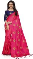 Fashion Ritmo Embroidered Bollywood Poly Silk Saree(Pink)
