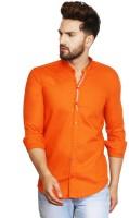 F2M Men Solid Casual Orange Shirt