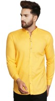 F2M Men's Solid Casual Yellow Shirt