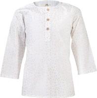 WYW Girls Printed Straight Kurta(White)