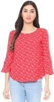 People Casual 3/4 Sleeve Printed Women Red Top